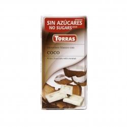 Bílá čokoláda s kokosem Torras 75g
